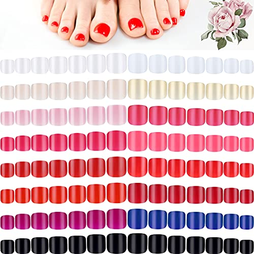 360 Piezas 15 Juegos Uñas Postizas Cortas de Pie Uñas Falsas Cuadradas Cortas de 15 Colores Puntas de Uñas Artificiales de Color Sólido para Mujeres Niñas Decoración de Uñas DIY