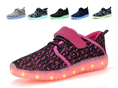 Denater LED Light Up Shoes Kids Girls Boys Breathable Flashing Sneakers