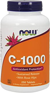 NOW Supplements, Vitamin C-1,000 with Rose Hips, Sustained Release, Antioxidant Protection*, 250 Tablets