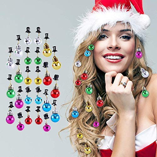 Jovitec 24 Pieces Christmas Beard Baubles Ornaments Santa Claus Beard Bells with Clips for Men Facial Hair Holiday Decoration, 6 Colors