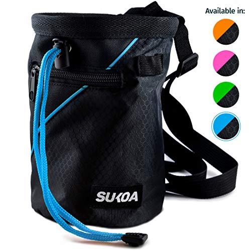 Sukoa Chalk Bag for Rock Climbing - Bouldering Chalk Bag Bucket with Quick-Clip Belt and 2 Large Zippered Pockets - Rock Climbing Gear Equipment (Blue)