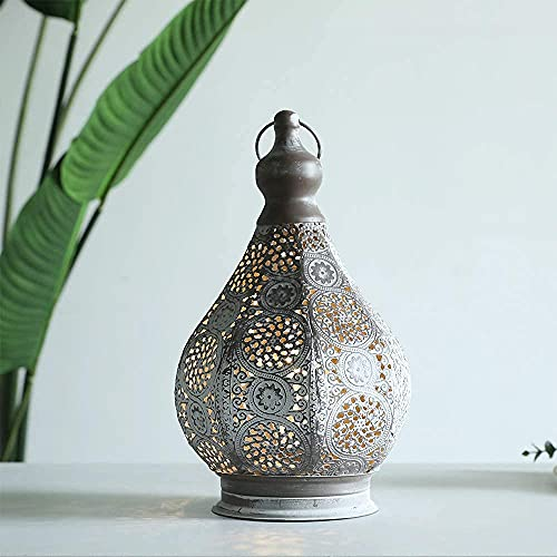 JHY DESIGN Moroccan Style Battery Lamp, Hanging Lamp Vintage Metal Table Lamp Battery Powered 26.5cm Tall Cordless Lamp for Living Room Bedroom Weddings Party Garden Lounge Outdoor Indoor Balcony Home