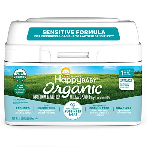 Happy Family Baby Organic Stage 1 Infant Formula Sensitive, Dual Prebiotics, Stage 1 Sensitive, 21 Ounce