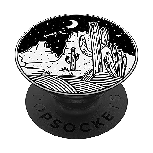 Minimal Abstracto Line Art Texas Desert Night Design PopSockets PopGrip Intercambiable