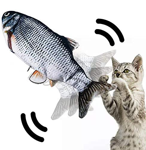 JuguHoovi Katzenspielzeug Fisch, Katzenspielzeug Elektrisch Fisch, Spielzeug Katze mit Katzenminze und USB, Zappelfisch für Katzen Interaktiv Lassen sie Katzen Spielen Beißen Kauen und Treten