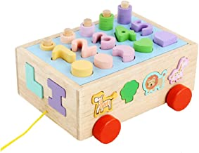 TOYMYTOY 1 Set Wooden Shape Sorting Cube Wooden Blocks Colorful Sorter Match Game Educational Building Toy for Toddlers Bo...