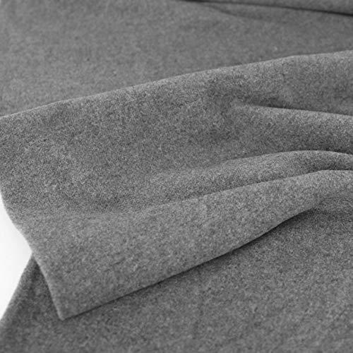 50cm TOLKO Kaschmir Winter Wollstoff/Mantelstoff | Flauschig weich warm | 1,5mm dick | Schweres Wolltuch für Mantel Jacke Sakko | Meterware zum Nähen Dekorieren 150cm breit (Grau Meliert)