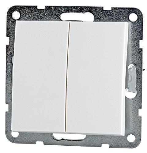 Doppelschalter weiß (Doppelschalter, Kunststoff weiß)