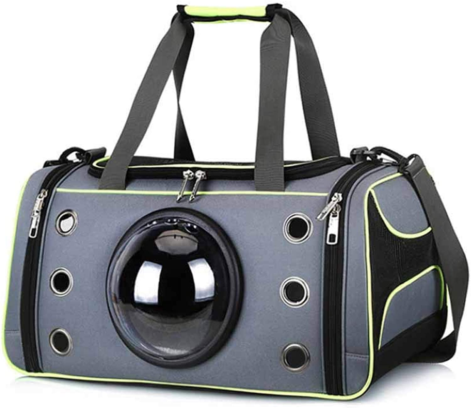 ACLBB Pet fluorescent handbag, portable ventilated space capsule pet backpack, carrying cats, dogs,M