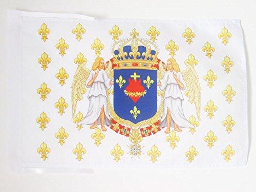 AZ FLAG Drapeau Royaume de France Anges Sacré Cœur 45x30cm - PAVILLON royaliste pavillon du Roi Ancien Régime Jésus 30 x 45 cm Haute qualité