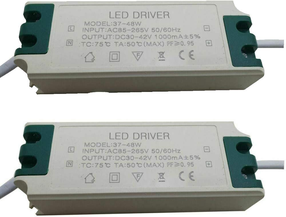 48W LED Driver Constant Voltage Adaptor Light Power Supply Input AC85V Output DC 30-42V 1000mA/±5/% Low-Voltage Connect Electronic Transformer 265V 50//60Hz Pack of 2