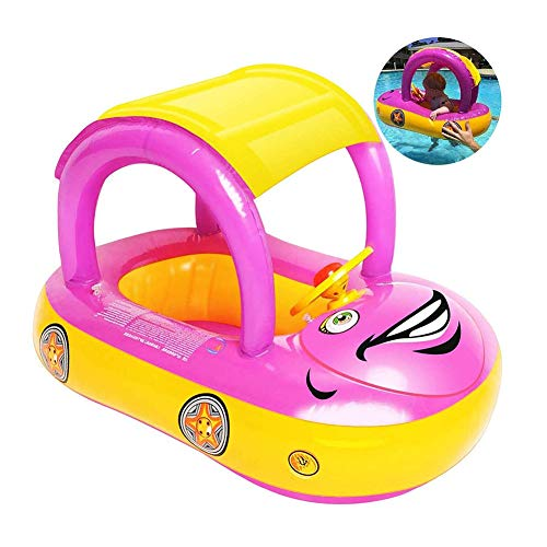HGYYIO Kids Toddler Seat PVC Material Inflatable Baby Swimming Pool Float Car Shaped Toddler Pool Floats Boat, Summer Water Toys Boat, for Boys and Girls