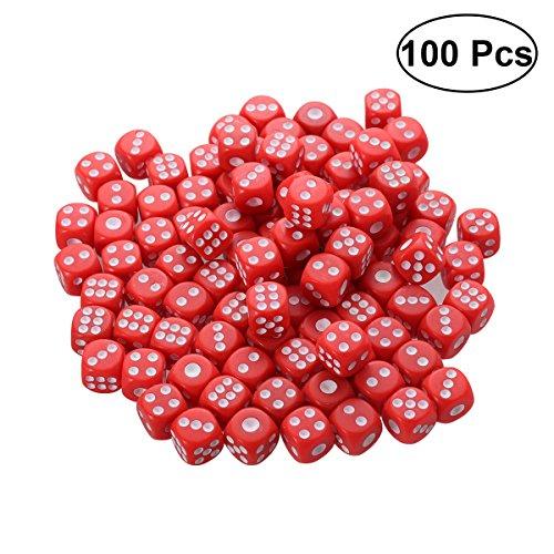 TOYMYTOY 100 STÜCKE Kunststoff Würfel 6 Seite Farbige Würfel für KTV Party Bar Spiele (Rot)
