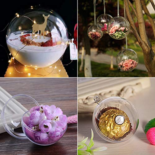 Bestevery 5Pcs 80mm Clear Fillable Christmas Ornaments Ball, Fillable Ball Clear Plastic Christmas Ball for Christmas, Wedding, Party, Home Decor