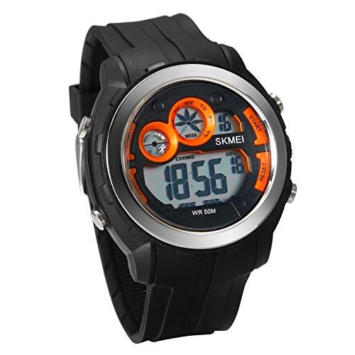 JewelryWe Herren Uhren 50m wasserdichte Armbanduhr Sport-Uhren Digitaluhr mit Wecker, Kalender und Stoppuhr (orange)