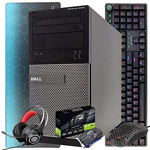 Dell Gaming PC Desktop Computer Tower, Intel i5 16GB RAM 128GB SSD + 500GB HDD, Windows 10, Nvidia GT 1030 2GB, New RGB Gaming Keyboard, Mouse, Headset &Mousepad (Renewed)(Black 4in1 Bundle)