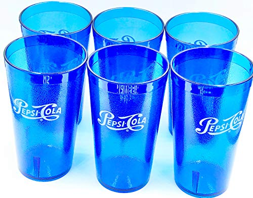 Pepsi Cola Blue Plastic Tumblers Cups 16-Ounce Restaurant Grade Cups, Set of 6