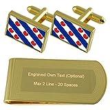 Frisia Bandera de tono Oro gemelos Money Clip grabado Set de regalo