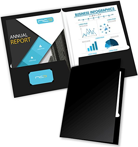 New Generation - Black 2 Pocket Folders, Durable Heavyweight Glossy Laminated Letter Size Twin Pocket Presentation Portfolio with a die-Cut Business Card Holder, Bulk 25 File Folders Pack (7665-25)