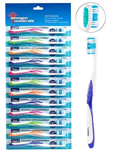 newgen medicals Marken-Handzahnbürste: 12er-Pack Marken-Zahnbürsten mit Zungenreiniger, ULTRA-SOFT, 4 Farben (Zahnpflege-Bürste)