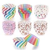 600 pezzi pirottini per cupcake, muffin, cupcake, carta da forno, arcobaleno, per matrimoni, feste di compleanno, 6 stili