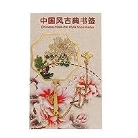 YALW 文具 メタルブックマーカー 中国風 ページマーク ブラス ブックマーク タッセル ブッククリップ(White Daisy)