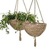 Natural Seagrass Hanging Planter Basket Set, Indoor Plant Pots, Boho Decor Plant Pot Cover, 12.4 (D) 6.3 (H) Inch, Pack 2