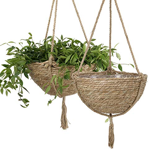 LA JOLIE MUSE Natural Seagrass Hanging Planter Basket Set, Indoor Plant Pots, Plant Pot Cover, 12.4 (D) 6.3 (H) Inch, Pack 2