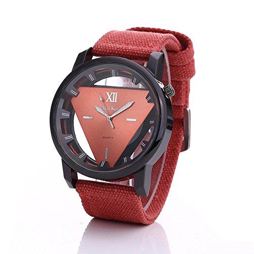 Covermason Hombres Dial Triángulo Deporte Militar Relojes de Pulsera Rojo