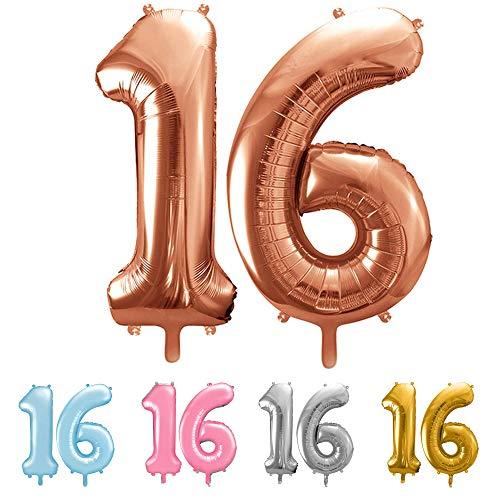 balloonfantasy Partyboutique Balloon Fantasy Zahlen Luftballon Set XXL | Geburtstagsdeko (Roségold, 16)