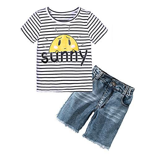Camisa casual de manga corta para bebé y pantalones de mezclilla, 2 piezas, ropa de verano de 1 a 7 años, Negro, 3 Años/4 Años