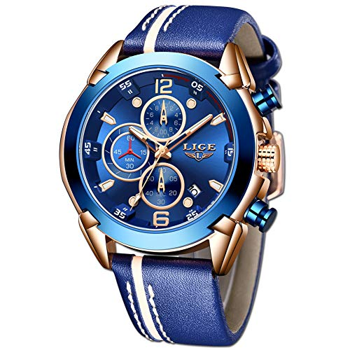 LIGE Relojes para Hombre Elegante Moda Deportivo Impermeable Cronógrafo Multifuntional Cuarzo analógico Acero Inoxidable Oro Negro Dial para Hombre