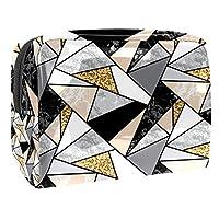 化粧ポーチポータブルトラベルコスメティックバッグオーガナイザー多機能ケース ゴールドスパンコールマーブル 女性用ジッパートイレタリーバッグ付き