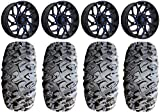 Bundle - 9 Items: Fuel Runner 18' Wheels Blue 33' MotoClaw Tires [4x156 Bolt Pattern 3/8x24 Lug Kit]
