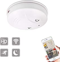 KAMRE WiFi Hidden Spy Camera Smoke Detector with Night Vision and Motion Detection, Nanny Cam Mini Video Recorder Security Cameras for Home Office (Video-Only)