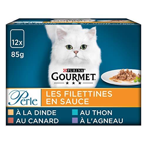 GOURMET - Les Filettines : Dinde, Canard, Agneau, Thon - 12x85g - Lot de 6