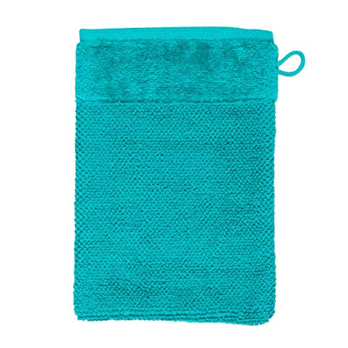 MÖVE Bamboo Luxe Gant de Toilette 15 x 20 cm, Fabriqué en Allemagne, 60% coton / 40% viscose en pulpe de bambou, Ocean (Bleu)