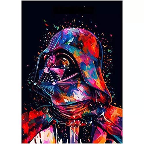 Star Wars Diamant-Malerei-Set nach Zahlen, vollständiger runder Bohrer, 5D-Diamantgemälde, Stickerei, Kreuzstich, Strasssteine, Kunsthandwerk, Mosaik, Heimdekoration (30 x 40 cm)