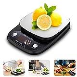 UBEGOOD Balance de Cuisine Electronique, Balance Numérique Cuisine 10kg/1g Balance Cuisine Acier INOX Tactile Sensible Écran LCD Rétroéclairé, Fonction Tare, Auto-Arrêt, Noir
