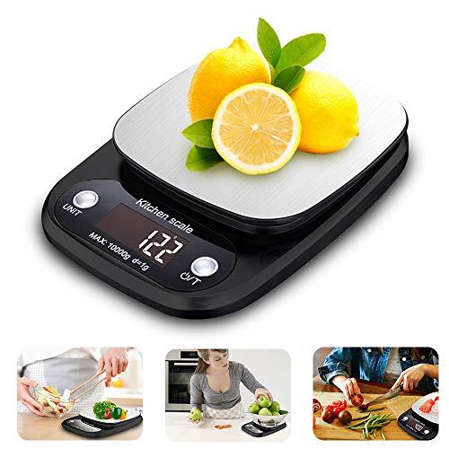 UBEGOOD Bilancia da Cucina Digitale, Alta Precisione Bilancia da Cucina Elettronica in Acciaio Inossidabile Cucina Bilancia 0.5g-10kg Digitale con Funzione Tare LCD Display Retroilluminato