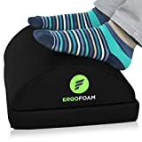 ErgoFoam Adjustable Desk Foot Rest for Added Height (Mesh) - Large Premium Under Desk Footrest | Pet-Friendly Foot Rest Under Desk for Lumbar, Back, Knee Pain | Foot Stool Rocker (Black)