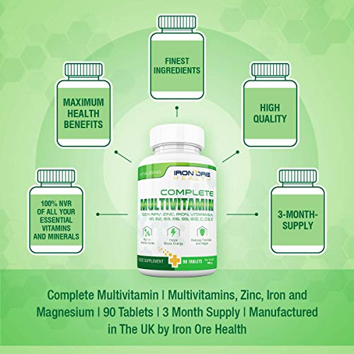Complete Multivitamin – Die besten Vitamine, die man nur 1 x am Tag nehmen muss: für optimale Gesundheit, Vitalität, Unterstützung des Immunsystems, Zink, Eisen, Magnesium, 100% ETD an A C B2 B3 B6 B7 B12 D E für Männer & Frauen – 90 Tabletten – Qualitativ hochwertige Inhaltsstoffe - 2