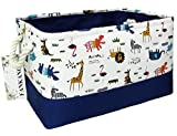 FANKANG Rectangular Fabric Storage Bin Box Laundry Basket with Dinosaur Prints for Nursery Storage, Storage Hamper, Book Bag, Gift Baskets (Animals)