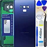LUVSS Rear Glass Assembly for Samsung Galaxy Note 9 SM-N960 Back Glass Panel Cover Case Housing Replacement + Camera Lens + Repair Manual DIY Tools Kit (Ocean Blue)