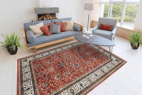 One Couture Teppich Orientalisch Fransen Ranken Ornamente Muster Wohnzimmer Rot Terra Wohnzimmerteppich Esszimmerteppich Teppichläufer Flur-Läufer, Größe:80cm x 150cm