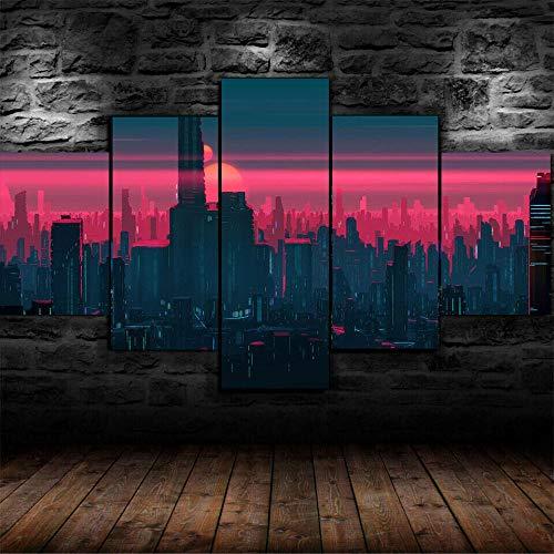 IKDBMUE Cuadro sobre Impresión Lienzo 5 Piezas-Mural Moderno 5 Piezas,Ciudad Moderna neón Rosa Dormitorios Decor para El Hogar -No Tejido Lienzo Impresión-Modular Poster Mural