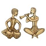 Indian DÃ © cor Wand Messing Musiker Figurine Spielen Tabla
