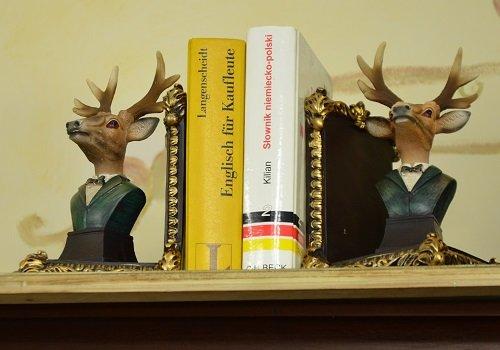 Buchstütz 2 Buchstützen Hirschen Antik Geschenk Vintage Dekoration 20 x 12 x 11 cm