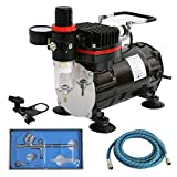 ZENY Professional Airbrush Multi-Purpose Gravity Feed Dual-Action Airbrushing System Kit Air Compressor with 6FT Hose & Airbrushes