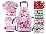 Emily´s Check Kochmütze + Küchenschürze + Topfhandschuh für Kinder - 3teiliges Set 1428.2002, Kitchen Princess, Small [3-6 Jahre]